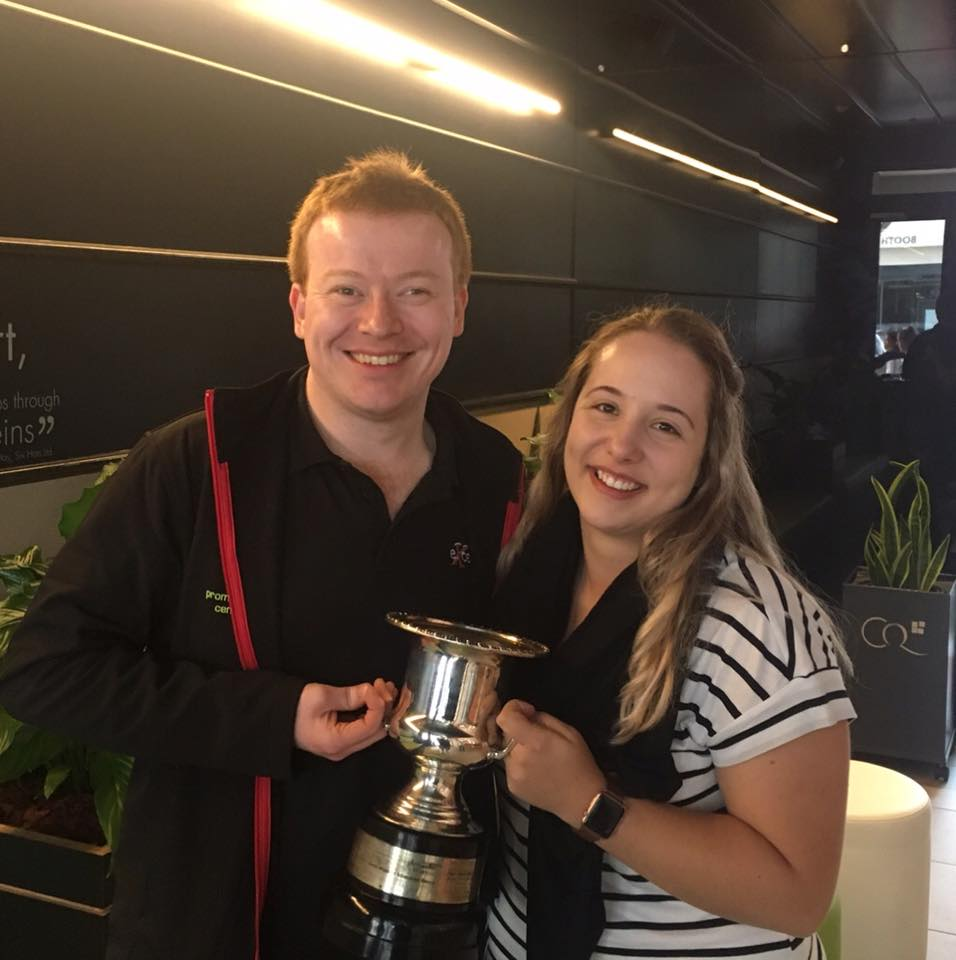 Iain Culross and Tamaryn Heck pose with the soloists cup